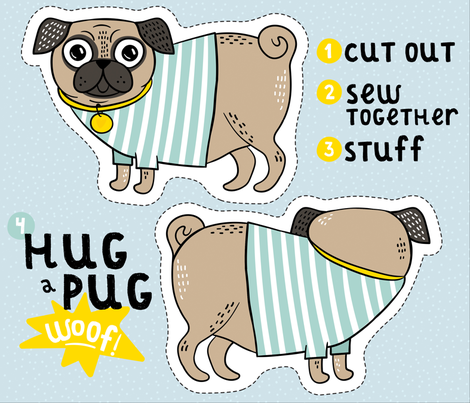 Hug a Pug fabric by hala_kobrynska on Spoonflower - custom fabric
