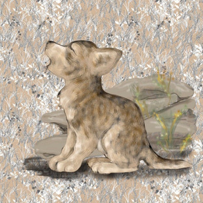 Howling Wolf Cub with Frostbitten Grass for Pillow