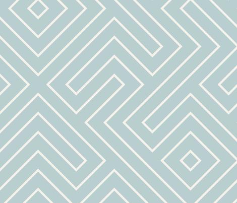 tribal maze CREAM ON AQUA fabric by danika_herrick on Spoonflower - custom fabric