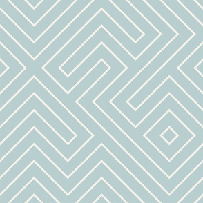 tribal maze CREAM ON AQUA