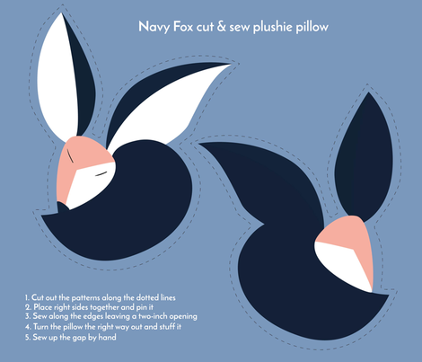 navy fox cut and sew plushie pillow fabric by lauranor on Spoonflower - custom fabric