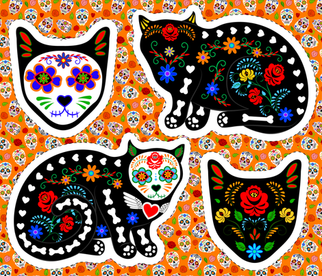 Sugar Skull Cat fabric by svetlana_prikhnenko on Spoonflower - custom fabric
