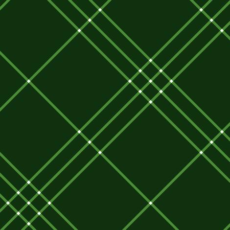 "Jacobite coat tartan, 6"" diagonal repeat  - green with white stripes fabric by weavingmajor on Spoonflower - custom fabric"