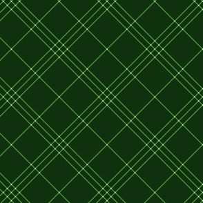 "Jacobite coat tartan, 6"" diagonal repeat  - green with white stripes"