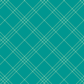 "Jacobite coat tartan, 6"" diagonal repeat  - soft aqua with light green stripes"
