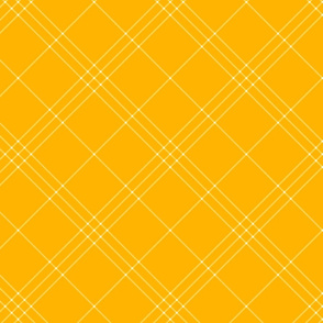 "Jacobite coat tartan, 6"" diagonal repeat  - bright gold with white stripes"