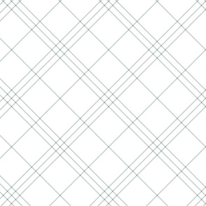"Jacobite coat tartan, 6"" diagonal repeat  - white with slate grey stripes"