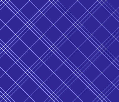 "Jacobite coat tartan, 6"" diagonal repeat  - deep periwinkle with light stripes fabric by weavingmajor on Spoonflower - custom fabric"