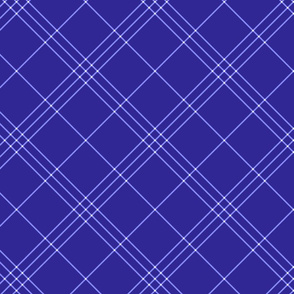 "Jacobite coat tartan, 6"" diagonal repeat  - deep periwinkle with light stripes"