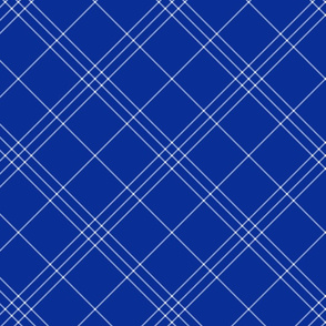 "Jacobite coat tartan, 6"" diagonal repeat  - cobalt blue with white stripes"