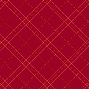 "Jacobite coat tartan, 6"" diagonal repeat  - ruby red with bright red stripes"