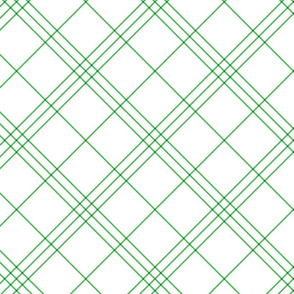 "Jacobite coat tartan, 6"" diagonal repeat  - white with spearmint green stripes"
