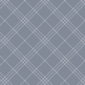 "Jacobite coat tartan, 6"" diagonal repeat  - cool grey with white stripes"