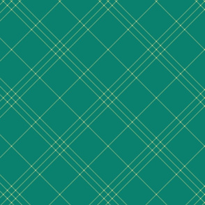 "Jacobite coat tartan, 6"" diagonal repeat  - green with gold-green stripes"