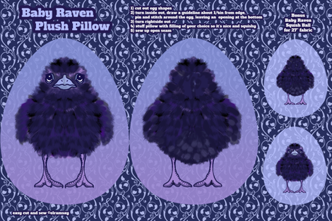 Baby Raven Plush Pillow fabric by elramsay on Spoonflower - custom fabric
