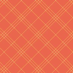 "Jacobite coat tartan, 6"" diagonal repeat  - vermilion with creamsicle orange stripes"