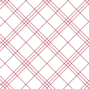"Jacobite coat tartan, 6"" diagonal repeat  - white with cinnamon red stripes"