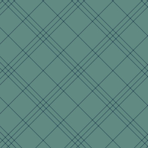 "Jacobite coat tartan, 6"" diagonal repeat  - slate grey with navy blue stripes"