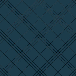 "Jacobite coat tartan, 6"" diagonal repeat  - navy with black stripes"