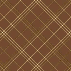 "Jacobite coat tartan, 6"" diagonal repeat  - brown with caramel stripes"