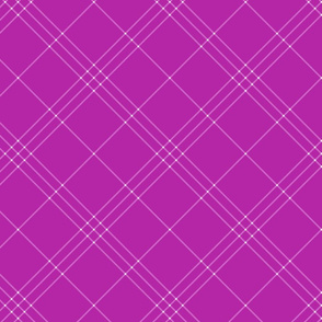 "Jacobite coat tartan, 6"" diagonal repeat  - bright orchid with lavender stripes"
