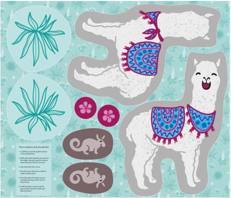 Llama and friend Plushie fabric by kasumidesign on Spoonflower - custom fabric
