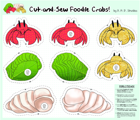 Cut-and-Sew Foodie Crabs fabric by bmdstudios on Spoonflower - custom fabric