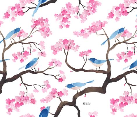 Cherry blossom birds fabric by cat_hayward on Spoonflower - custom fabric