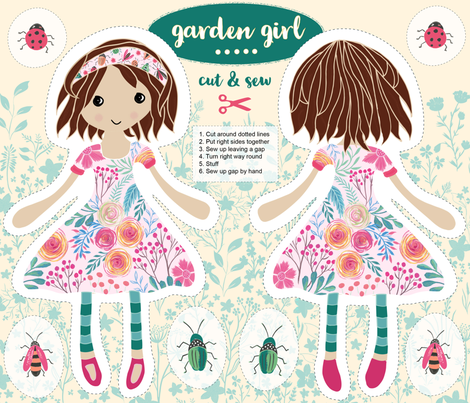 Garden Girl fabric by jill_o_connor on Spoonflower - custom fabric