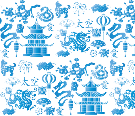 Chinois New Year fabric by wepop on Spoonflower - custom fabric