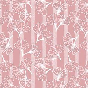 Ginkgo Outlines on Blush Narrow Stripes