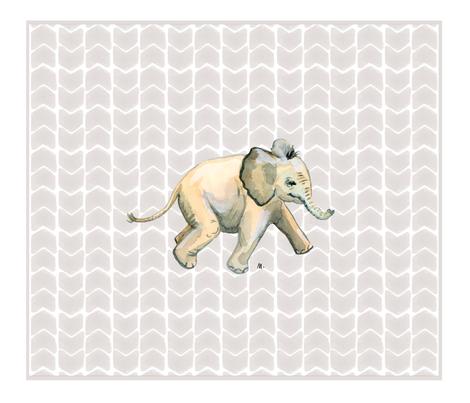 Baby Elephant fabric by atlanticmoira on Spoonflower - custom fabric