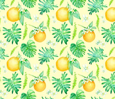 Citrus Tropics - light yellow fabric by sam_nagel on Spoonflower - custom fabric