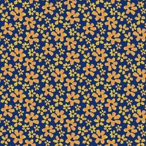 yellow flowers on navy texture