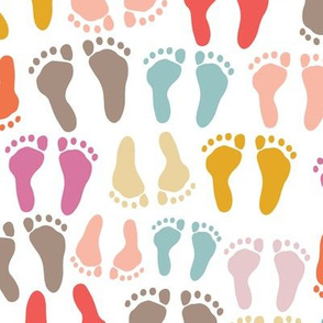 Small Scale - Baby Footprints - Pink Brown Orange Blue