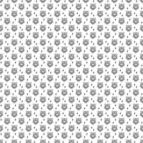 (micro scale) white tiger with bolts C18BS fabric by littlearrowdesign on Spoonflower - custom fabric