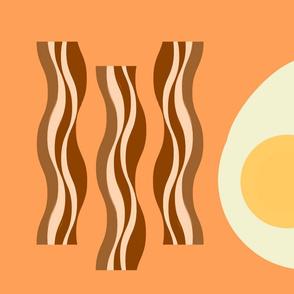 Egg and Bacon tea towel - tangerine