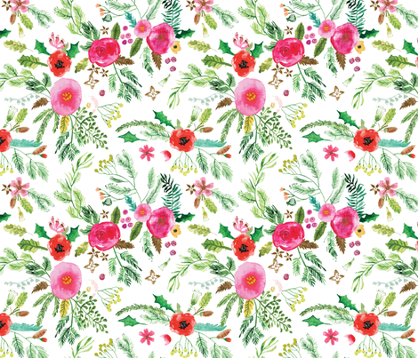 Noël Forest Floral (white) MED fabric by nouveau_bohemian on Spoonflower - custom fabric