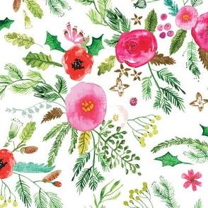 Noël Forest Floral (white) MED