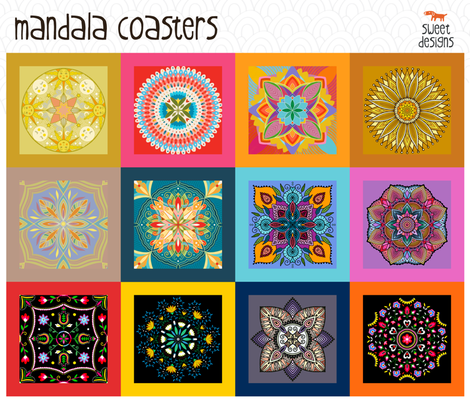 Mandala coasters fabric by sweet_designs_nz on Spoonflower - custom fabric