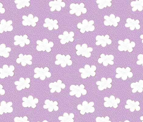 Clouds on Purple fabric by red_raspberry_designs on Spoonflower - custom fabric