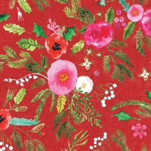 Noël Forest Floral (red) MED