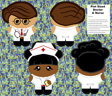 Kawaii Dr.  & Nurse Dolls -  Fat Quarter fabric by engravogirl on Spoonflower - custom fabric