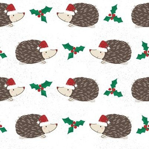 Hedgehog Christmas with Holly