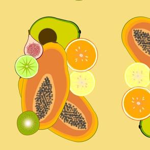 Tuti Fruti tea towel-lemon yellow