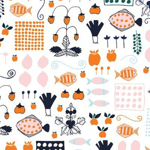Small Scale Scandinavian Groceries - Repeating - Navy Orange Coral