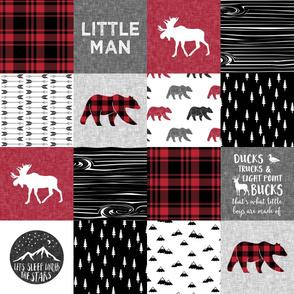 Happy Camper/Little Man w/ buffalo plaid/Ducks,Truck,Bucks w/ bears - Woodland Patchwork