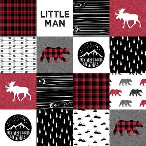 Happy Camper/Little Man w/ buffalo plaid bears - Woodland Patchwork - C18BS