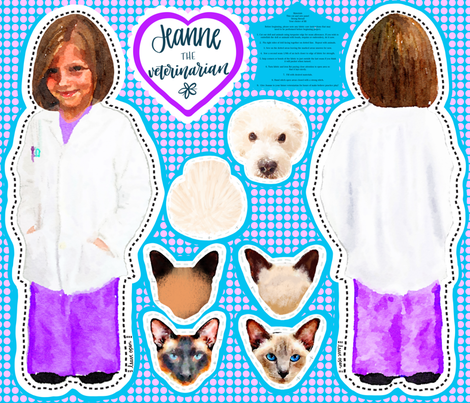 Jeanne the Veterinarian Cut and Sew fabric by christiebcurator on Spoonflower - custom fabric
