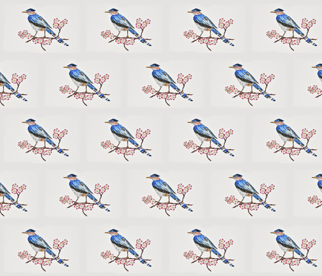 Chinese Blue Jay fabric by happytownart on Spoonflower - custom fabric